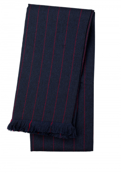 NAVY RED PINSTRIPE WOOL SCARF