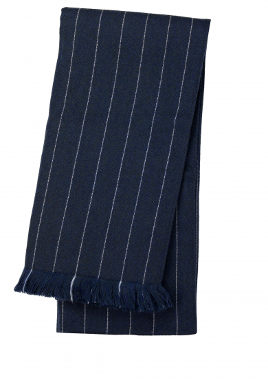NAVY LIGHT BLUE PINSTRIPE WOOL SCARF