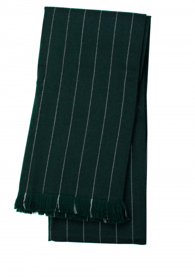 GREEN GRAY PINSTRIPE WOOL SCARF