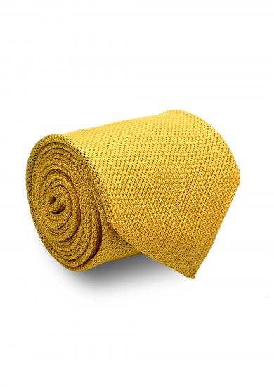 YELLOW GRENADINE SILK TIE