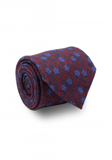 RED BLUE FLOWER WOOL TIE