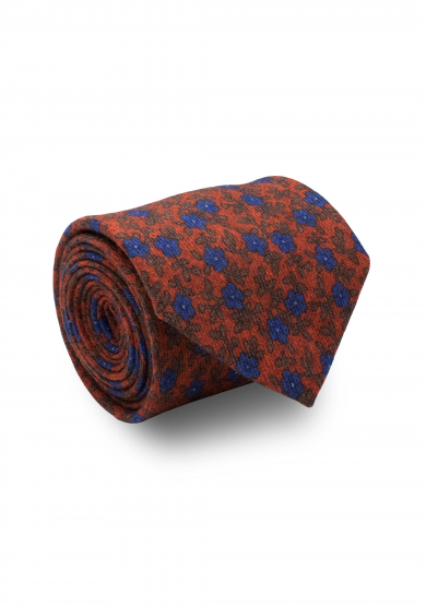ORANGE BLUE FLOWER WOOL TIE