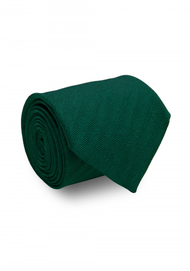 GREEN HERRINGBONE SILK TIE
