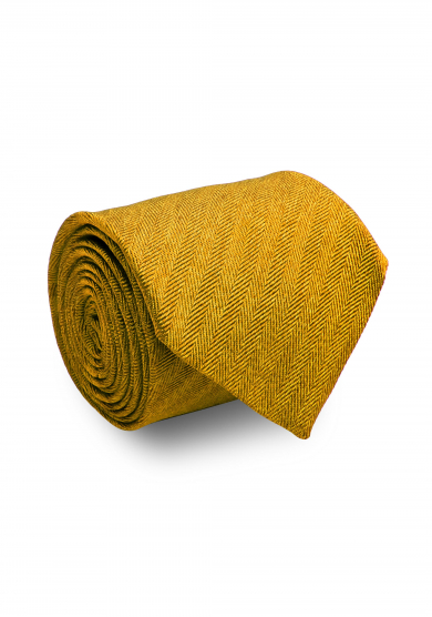GOLD HERRINGBONE SILK TIE
