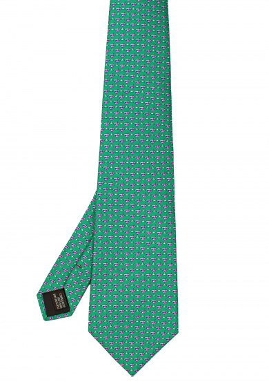 GREEN COCKTAIL SILK TIE