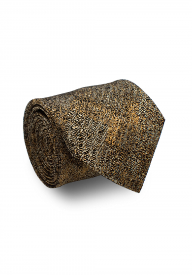 BEIGE GOLD PATTERN SILK TIE