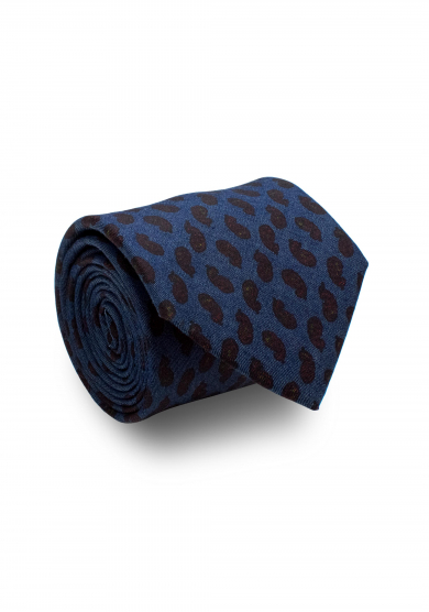 NAVY PAISLEY COTTON TIE