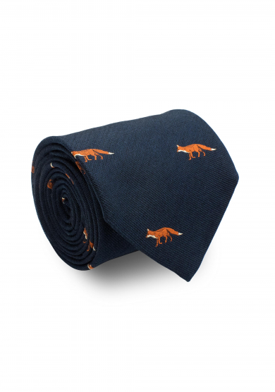 BLUE FOX SILK TIE