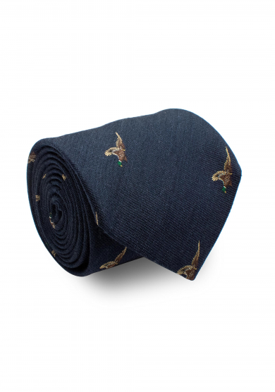BLUE PHEASANT SILK WOOL TIE