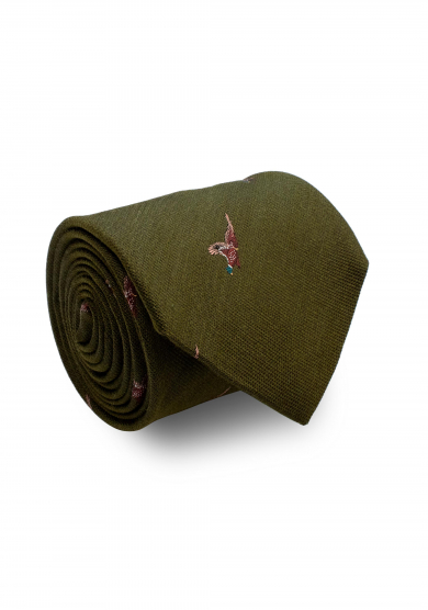 GREEN PHEASANT SILK WOOL TIE