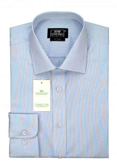 ECO LIGHT BLUE CHECK POPLIN