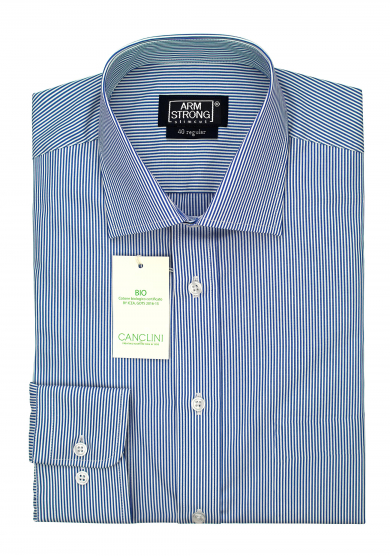 ECO BLUE STRIPE POPLIN