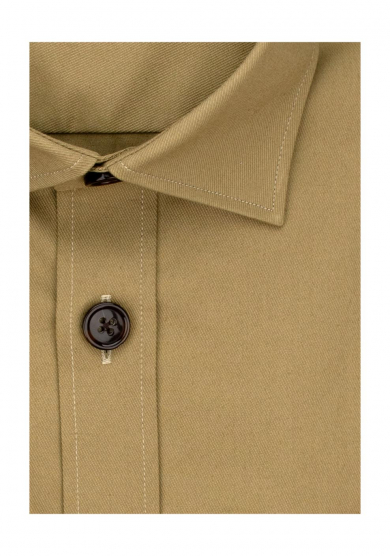 BEIGE OVERSHIRT STRETCH COTTON TWILL