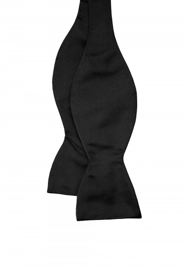 BLACK SOLID SILK BOW TIE