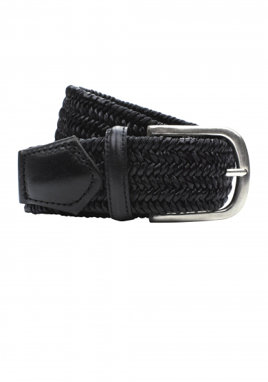 BLACK BRAIDED STRETCH BELT