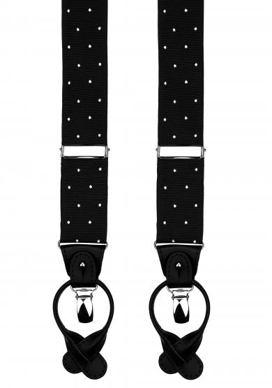 BLACK DOT RIBBED SUSPENDERS