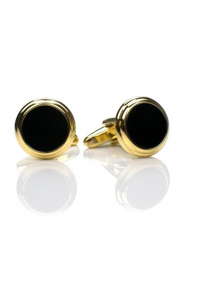 BLACK ONYX GOLD CUFF LINK