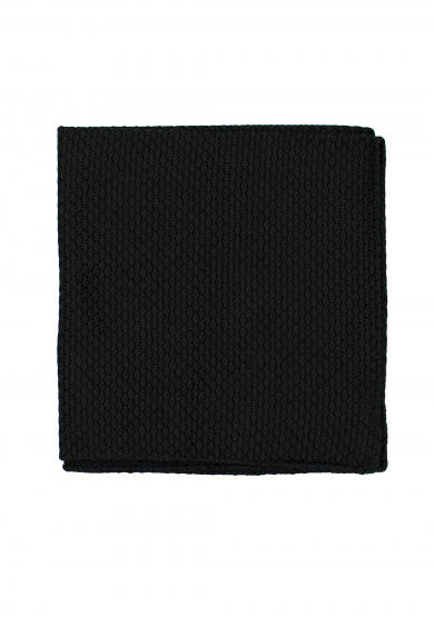 BLACK GRENADINE SILK POCKET SQUARE