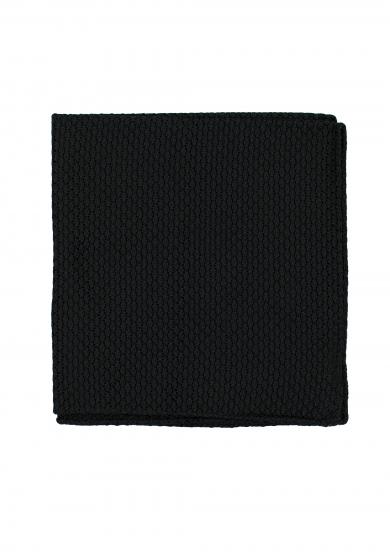 BLACK GRENADINE SILK POCKET SQUARE