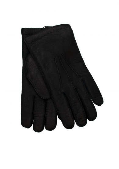 BLACK PECCARY CASHMERE GLOVES