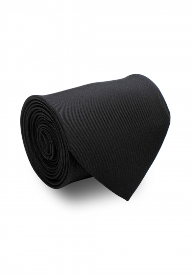 BLACK SOLID SILK TIE