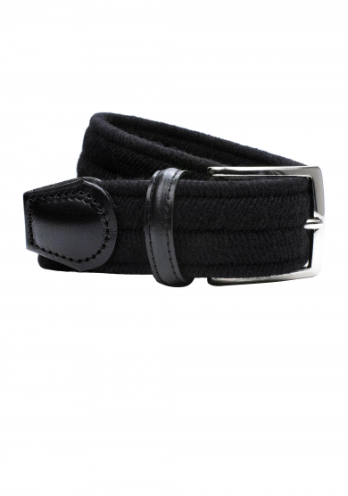 BLACK WOOL STRETCH BELT