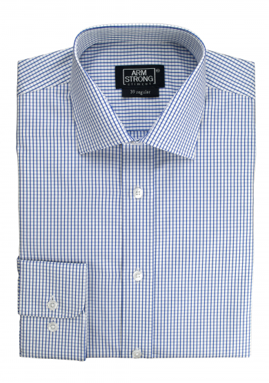 BLUE WHITE CHECK POPLIN