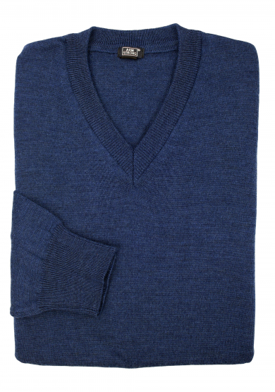 BLUE MERINO V-NECK SWEATER