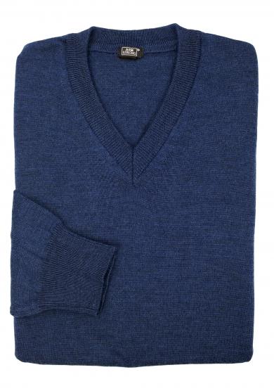 BLUE MERINO V-NECK SWEATER
