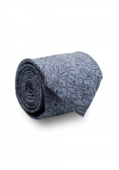 BLUE NAVY FLOWER SILK TIE