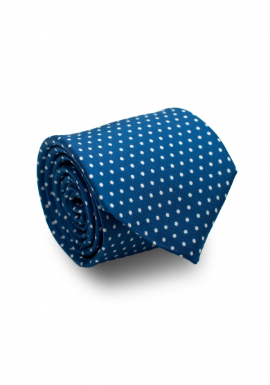 BLUE WHITE DOT SILK TIE