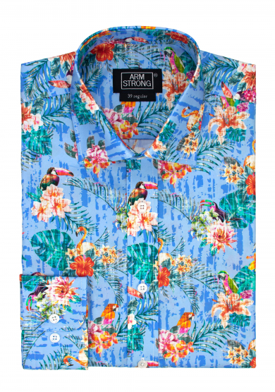 BLUE TOUCAN FLOWER POPLIN