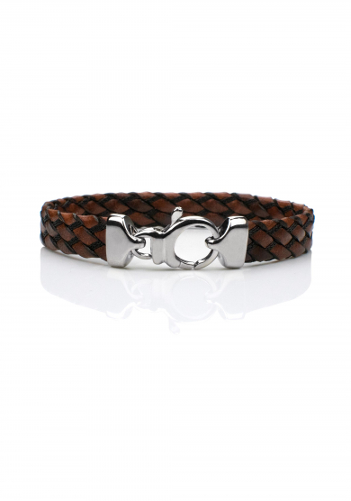 BROWN BLACK BRAIDED BRACELET