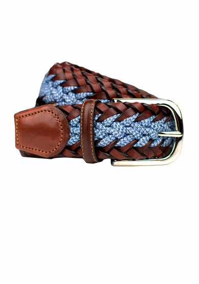 BROWN BLUE BRAIDED DENIM LEATHER BELT