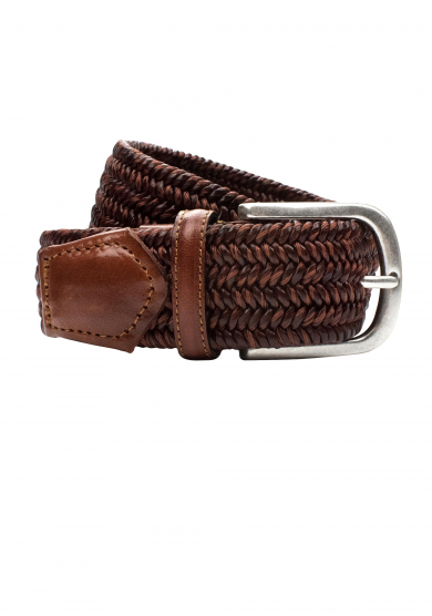 BROWN BRAIDED STRETCH BELT