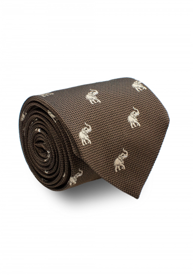 BROWN WHITE ELEPHANT TIE