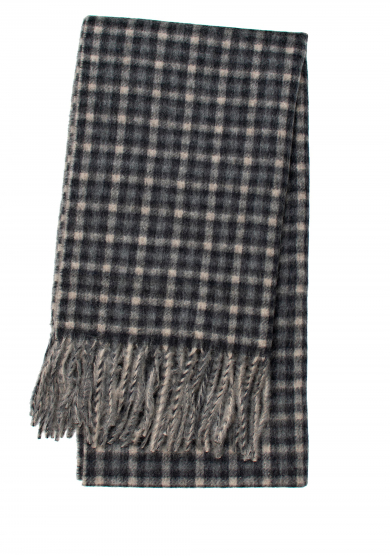 BROWN GREY MINI CHECK CASHMERE SCARF