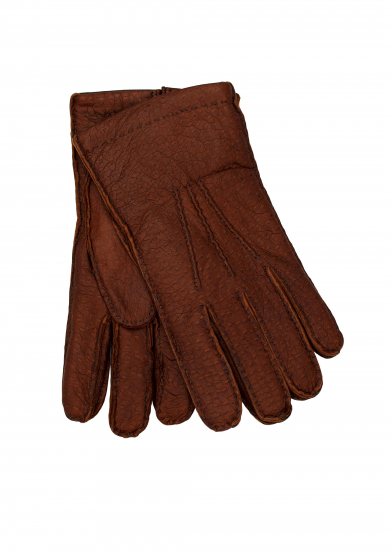 BROWN PECCARY CASHMERE GLOVES