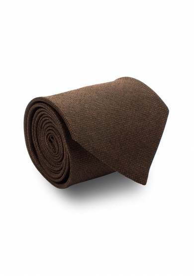 BROWN SOLID SILK TIE