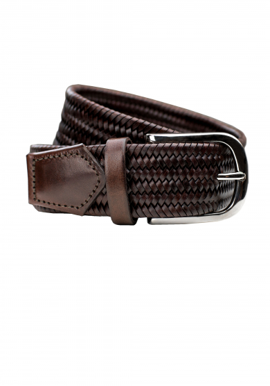 BROWN BRAIDED LEATHER STRETCH BELT