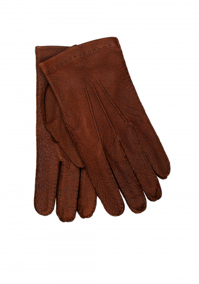 BROWN PECCARY UNLINED GLOVES