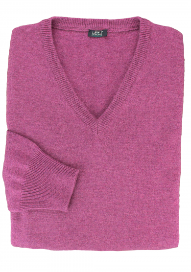 PURPLE CASHMERE V-NECK SWEATER