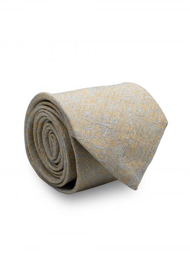 CHAMPAGNE WHITE FLOWER SILK TIE