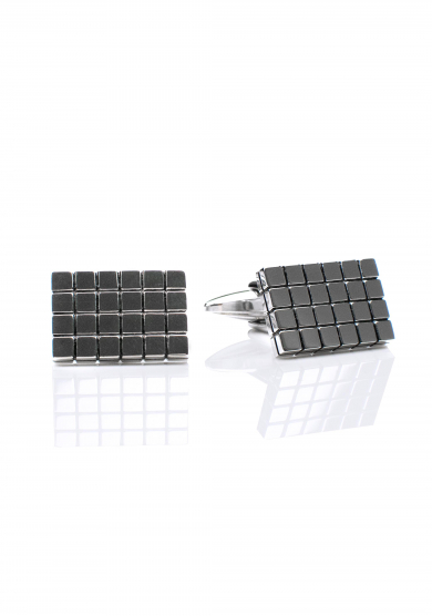 CHROME CHECKERED CUFF LINK