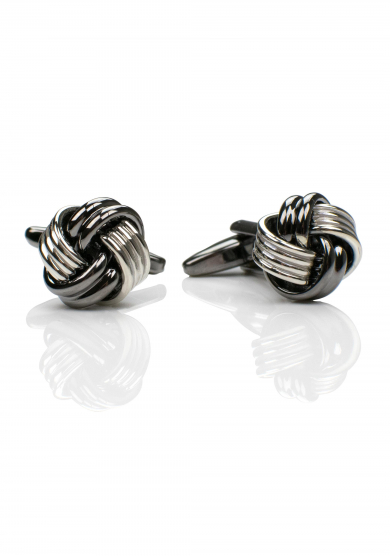 CHROME DARK KNOT CUFF LINK