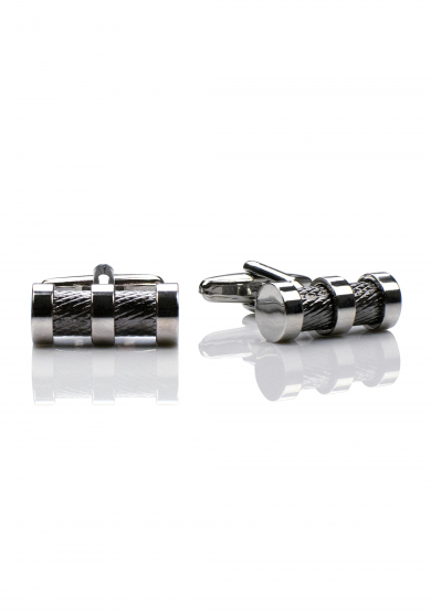 CHROME CYLINDER PATTERN CUFF LINK
