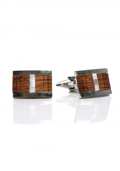 CHROME WOOD CHECKERED CUFF LINK
