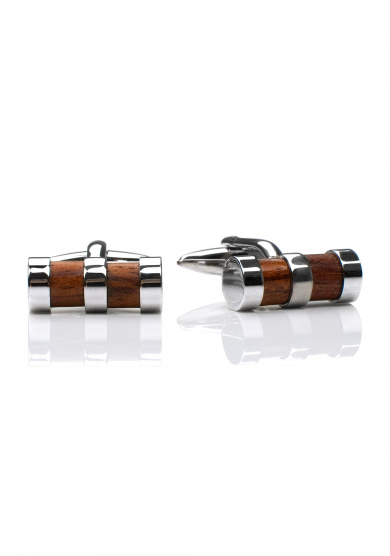 CHROME WOOD CYLINDER CUFF LINK