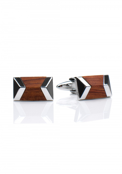 CHROME WOOD GEOMETRIC CUFF LINK