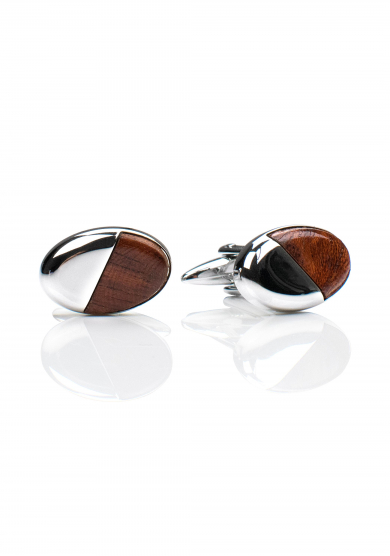 CHROME WOOD OVAL CUFF LINK